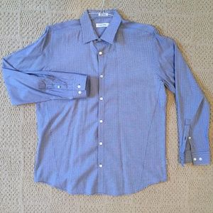 Calvin Klein Blue Striped Men's Button-Down (M)